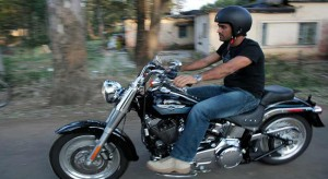 dhoni riding bike