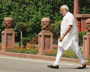 PM Narendra Modi after BJP parliamentary board Meeting at the Parliament house in new Delhi on Tuesday. Express Photo by Prem Nath Pandey. 21.04.2015.
