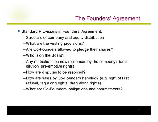 Agreement between company founders