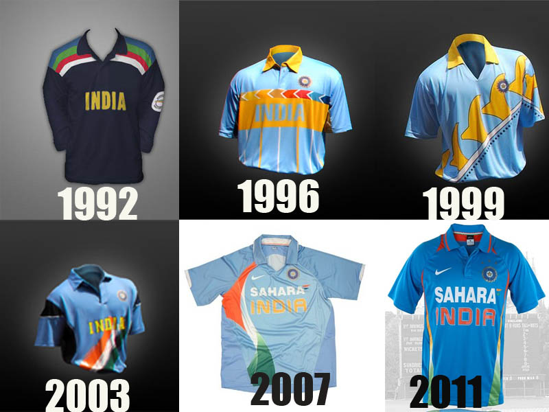 Indian team jerseys of different era