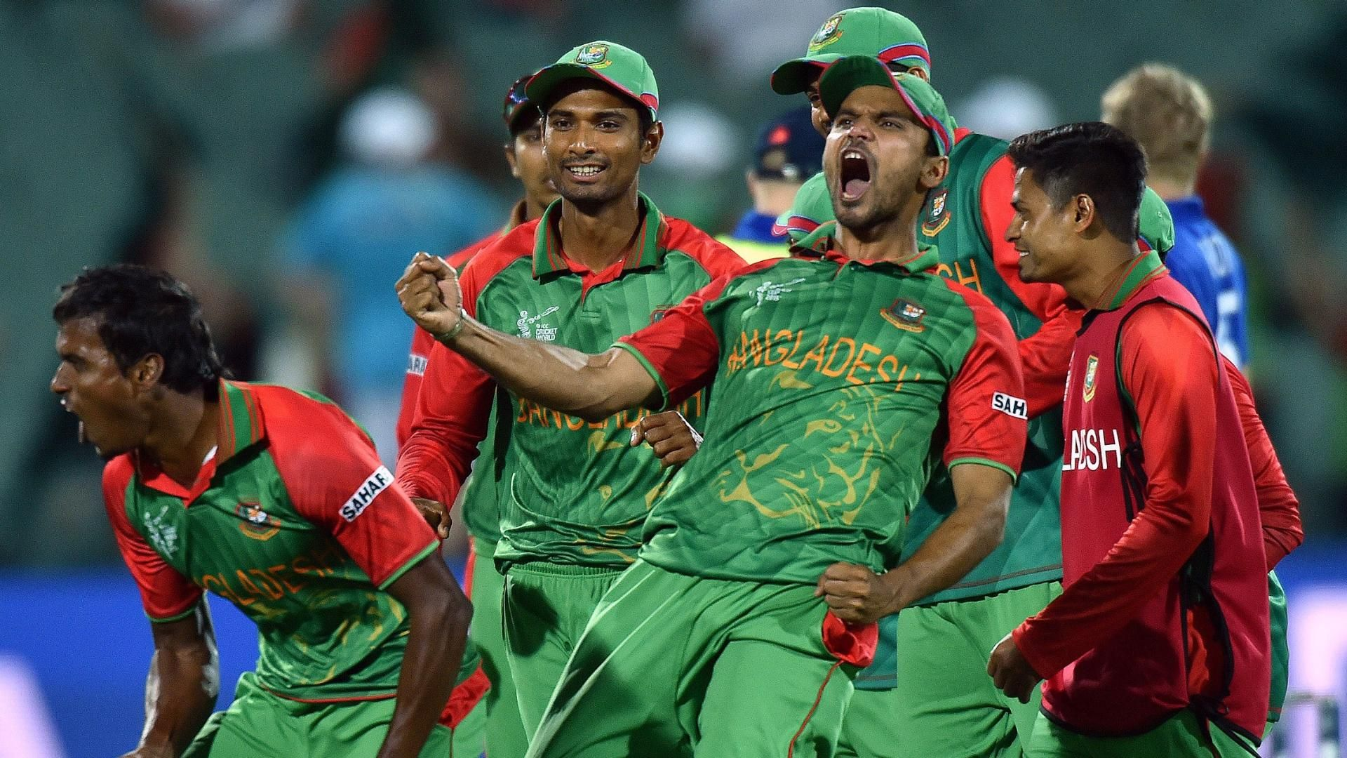 Bangladesh players celebrating their victory against England