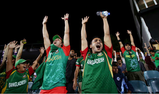 Bangladesh fans celebrating their victory against England