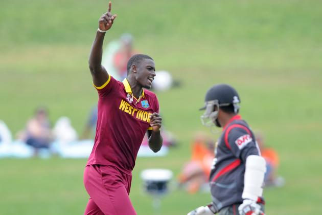 West Indies captain Jason Holder celebrates a wicket