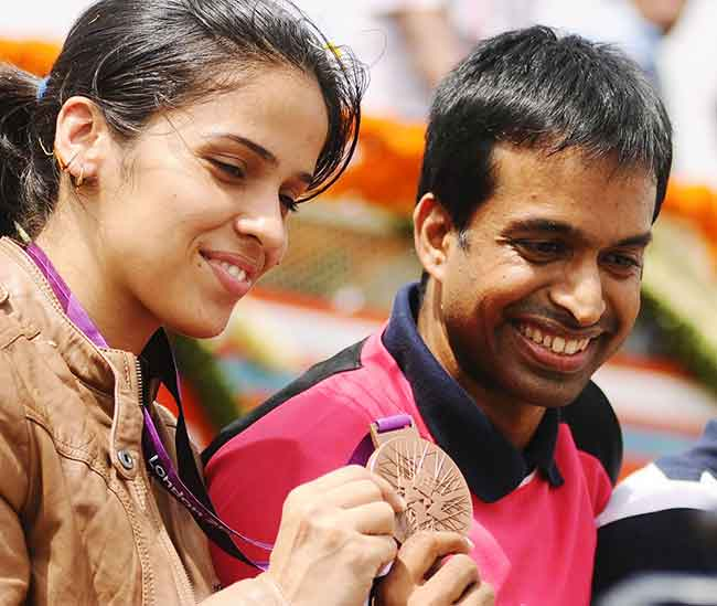 Saina with coach Gopichand Pullela