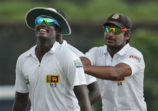 Sri Lanka captain Angelo Mathews with Kumar Sangakkara