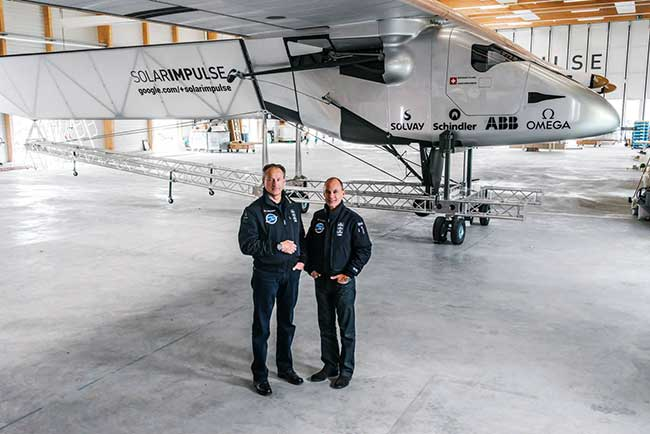 Pilots with Solar Impulse 2 Plane