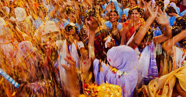 Widows celebrate Holi with Lord krishna