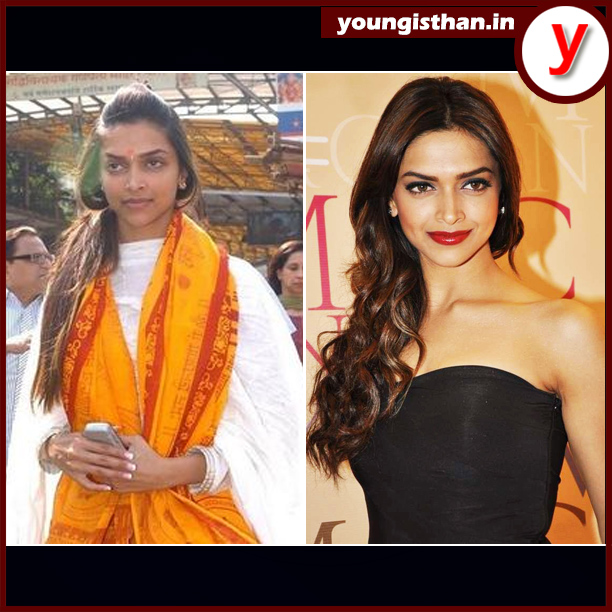 DeepikaPadukone with & without makeup