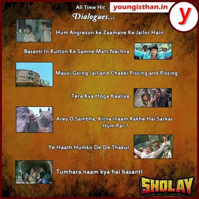 All time hit dialogues of Sholay