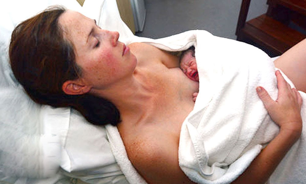 A woman giving birth