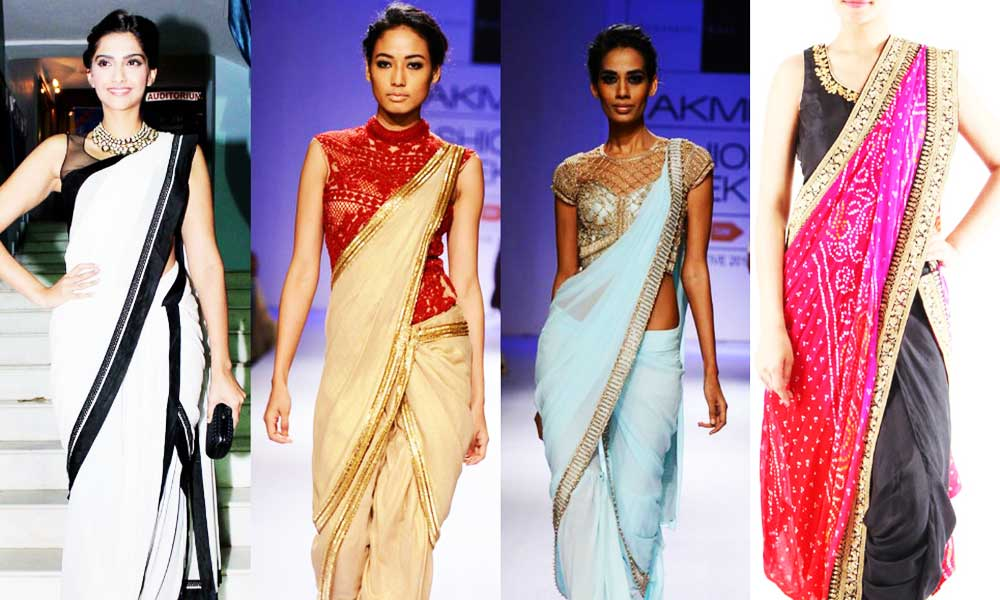 Dramatic saree draping styles
