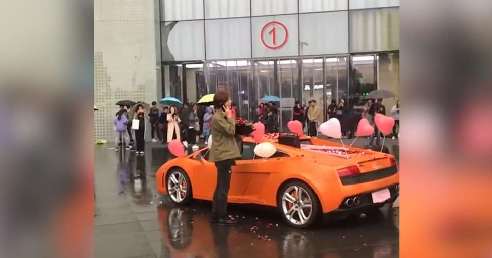 Rich Chinese Man Proposes To A Girl With His Lamborghini Gets